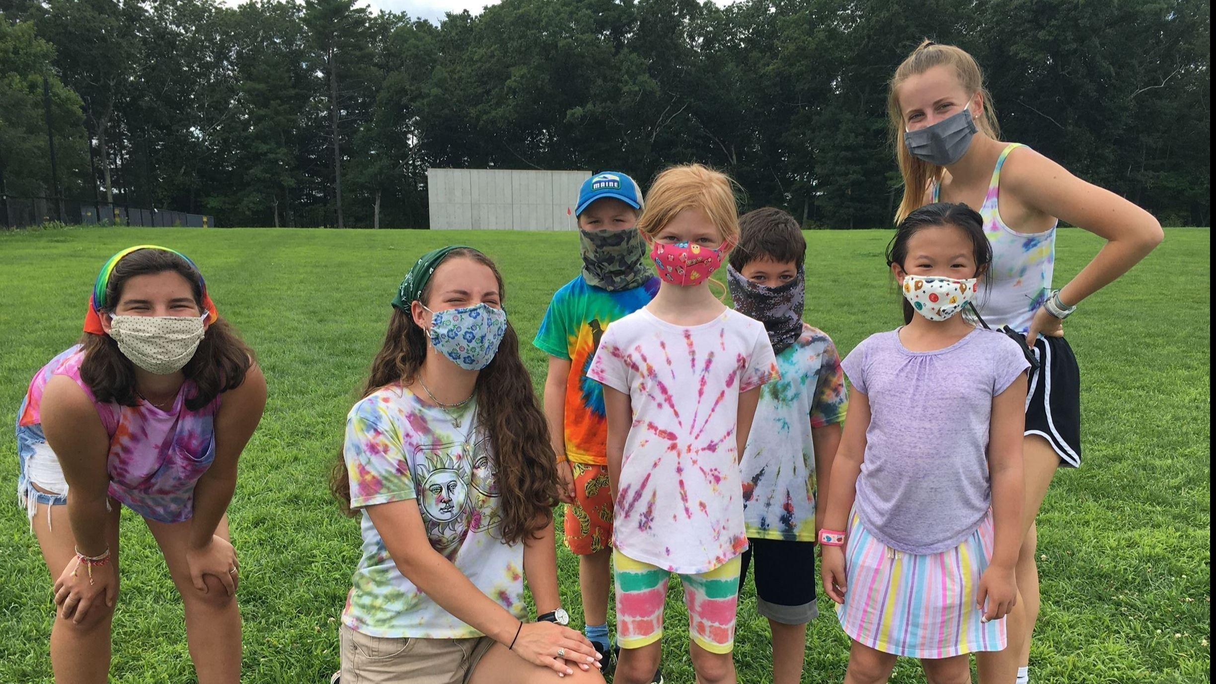 summer camp 2020 campers playing with masks