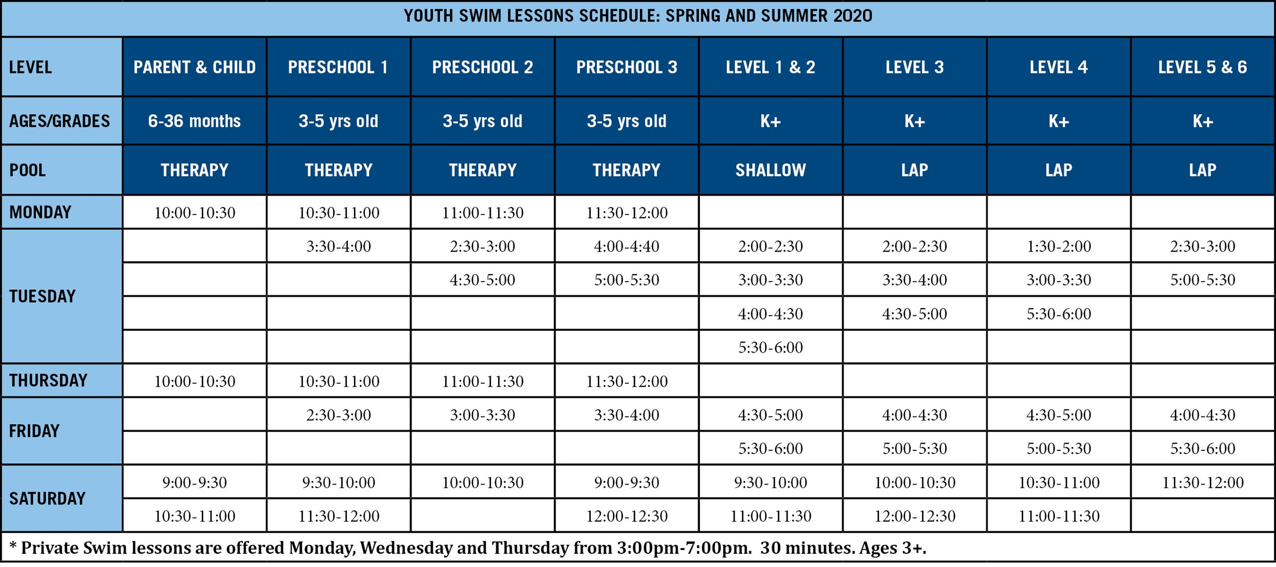 Swim Lesson Schedule Spring Summer 2020